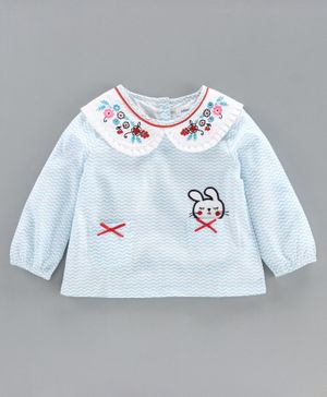 Babyoye Cotton Full Sleeves Top Floral Embroidery - Light Blue