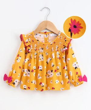 Babyoye Full Sleeves Woven Frock Style Top Floral Print - Yellow