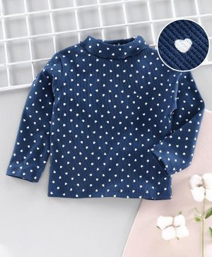 Babyhug Cotton Lyra Full Sleeves Tee Heart Print - Navy Blue