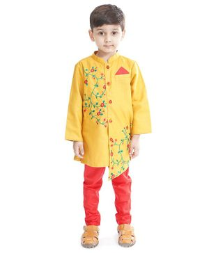 Babyoye Full Sleeves Kurta Pajama Set Floral Embroidered - Yellow