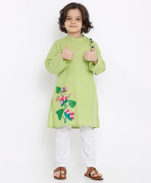 Babyoye Full Sleeves Cotton Kurta Floral Embroidery - Green