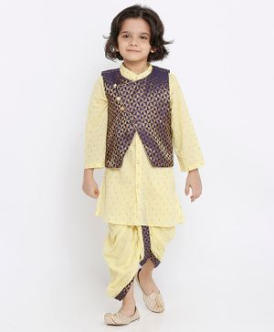 Babyoye Full Sleeves Kurta And Dhoti Set with Brocade Jacket Set - Beige