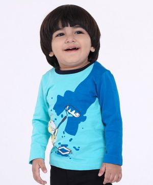Babyoye Cotton Full Sleeves Tee Animal Print - Blue