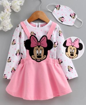 Babyhug Frock with Full Sleeves Inner Tee Minnie Mouse Embroidered With Mask- Pink