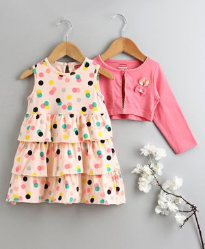 Babyhug Frock with Fll Sleeves Shrug Polka Dot Print & Lace Detail - Pink