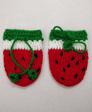 Knit Masters Watermelon Theme Mittens - Red & Green
