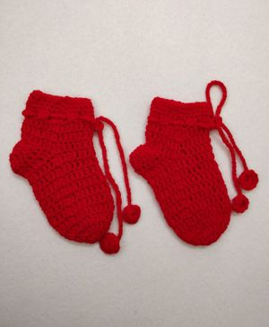 Knit Masters Solid Pattern Socks - Red