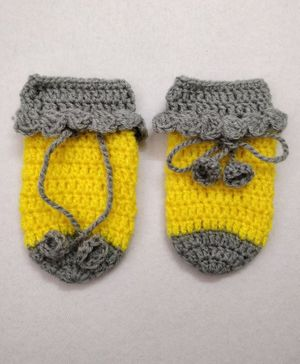 Knit Masters Lace Detail Mittens - Yellow & Grey