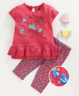 Tambourine Short Sleeves Flower Print Top With Capri Set - Maroon
