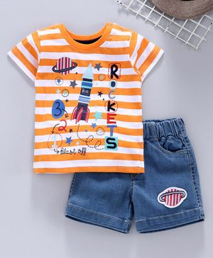 Tambourine Striped Half Sleeves Tee With Shorts - Orange