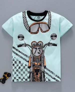Tambourine Bike Printed Half Sleeves Tee - Blue