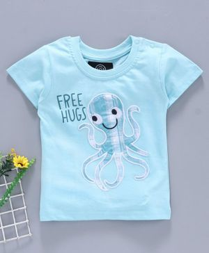 Tambourine Half Sleeves Octopus Patch T-Shirt - Blue