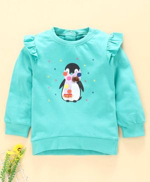 Tambourine Full Sleeves Penguin Print Sweatshirt - Blue