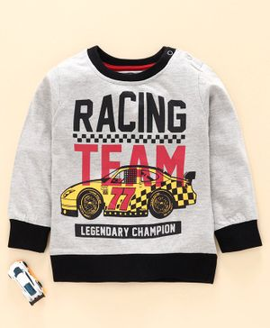 Tambourine Full Sleeves Racing Team Printed Sweatshirt - Grey