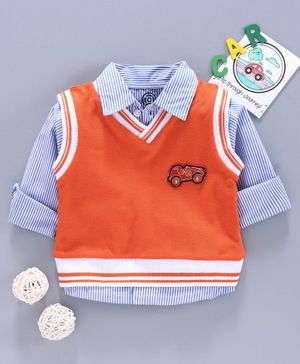 Tambourine Full Sleeves Striped Shirt With Vest Set  - Orange & Blue