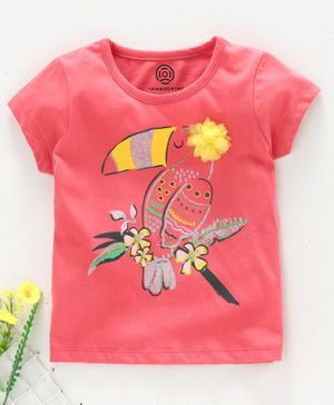 Tambourine Half Sleeves Bird Print & Flower Detailed T-Shirt - Pink