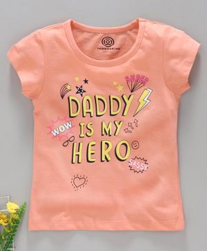 Tambourine Short Sleeves Daddy Is My Hero Printed T-Shirt - Peach