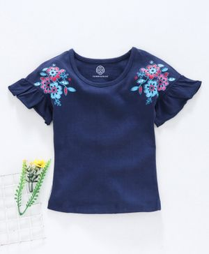 Tambourine Flower Print Half Sleeves Top - Ink Blue