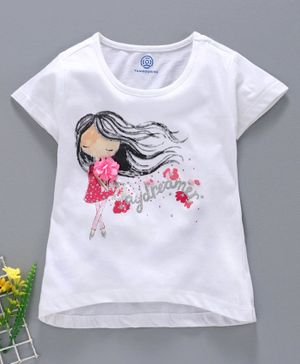 Tambourine Half Sleeves Girl Print T-Shirt - White