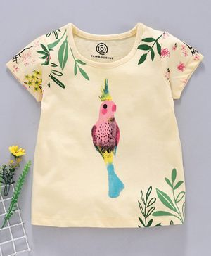 Tambourine Short Sleeves Bird Print T-Shirt - Yellow