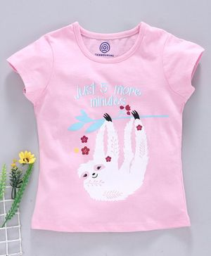 Tambourine Short Sleeves Just 5 More Minutes Print Top  - Pink