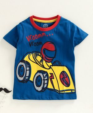 Tambourine Racing Car Print Half Sleeves Tee - Royal Blue
