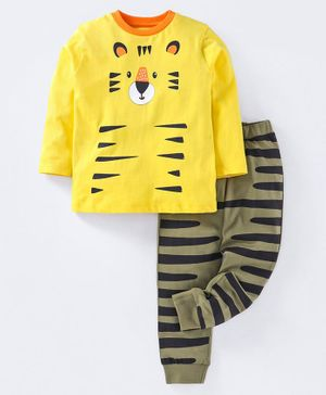 Ventra Full Sleeves Tiger Print Night Suit - Yellow