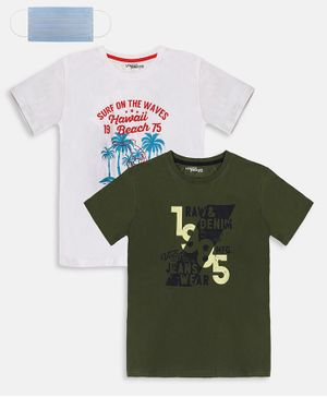 Li'L tomatoes Combo Pack Of 2 1985 Printed T-Shirt With Free 3-Ply Face Mask - White & Olive Green