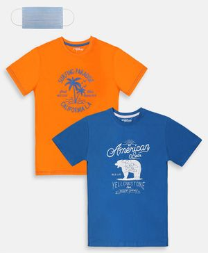 Li'L tomatoes Combo Pack Of 2 American Bear Printed  T-Shirt With Free 3-Ply Face Mask - Royal Blue & Orange