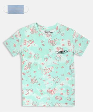 Li'L tomatoes Half Sleeves Sun & Cloud Printed T-Shirt With Free 3-Ply Face Mask - Sea Green