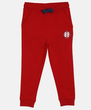 3PIN 88 Printed Full Length Joggers - Red