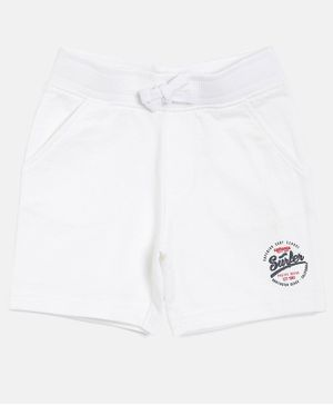 3PIN Surfer Print Cotton Shorts - White