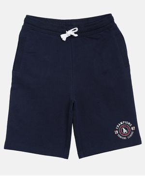 3PIN Knee Length Front Pocket  Shorts - Dark Blue