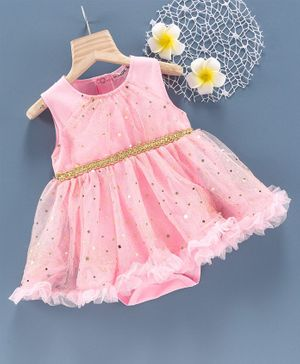 Mark & Mia Sleeveless Frock Style Onesie Sequin Belt Detail - Pink