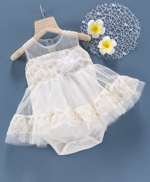 Mark & Mia Sleeveless Frock Style Onesie Floral Applique - White