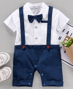 Mark & Mia Half Sleeves Party Wear Romper Bow Applique - Blue White