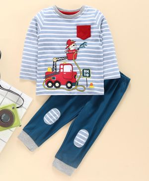 Babyhug Full Sleeve Striped Tee with Lounge Pant Fireman Print - Blue