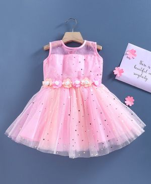 Babyhug Sleeveless Party Frock Floral Corsage- Pink