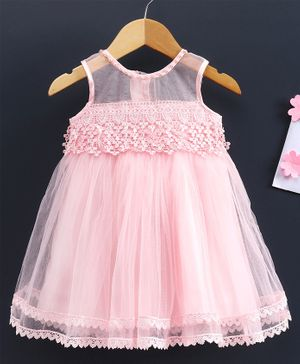 Babyhug Sleeveless Frock Floral Embroidery - Pink