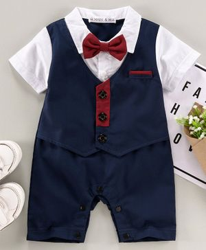 Mark & Mia Half Sleeves Solid Color Party Wear Romper with Bow - Navy Blue