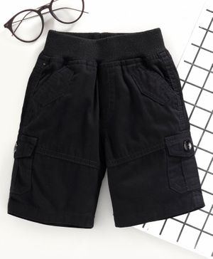 Jash Kids Pull Up Knee Length Shorts - Black