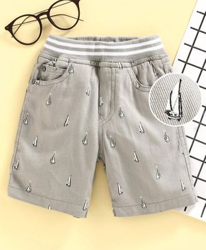 Jash Kids Pull Up Knee Length Shorts Ship Print - Grey