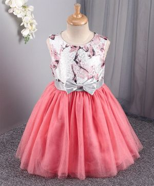 Mark & Mia Sleeveless Party Frock with Floral Bodice - Pink White