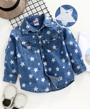 Babyhug Boys Full Sleeve Denim Shirt Star Printed - Blue