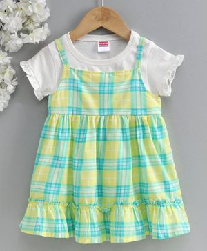 Babyhug Check Frock With Short Sleeves Tee - White Yellow Green