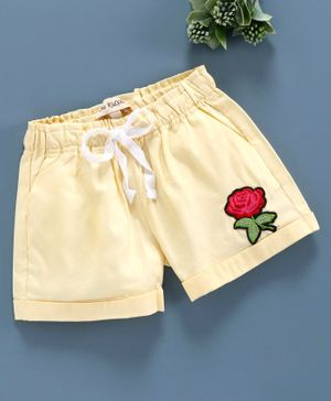 The KidShop Rose Patch Shorts - Yellow