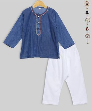 oui oui Solid Full Sleeves Kurta & Pyjama Set - Blue