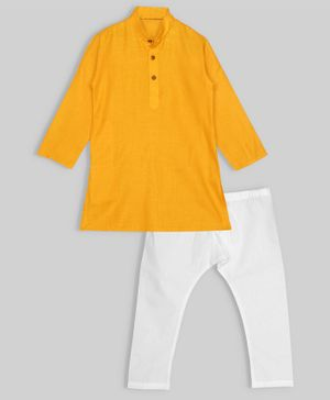 oui oui Full Sleeves Solid Kurta & Pyjama Set - Yellow