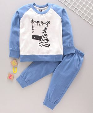Jb Club Giraffe Print Full Sleeves Sweatshirt With Bottom - Blue