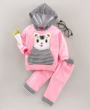 Jb Club Bear Patch Full Sleeves Hoodie With Bottom - Pink